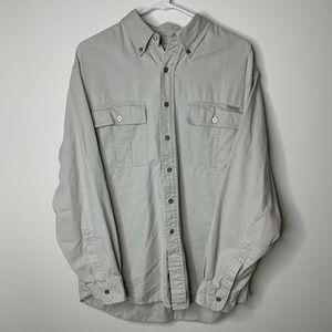 Calvin Klein Jeans Mens M Khaki Long Sleeve Button